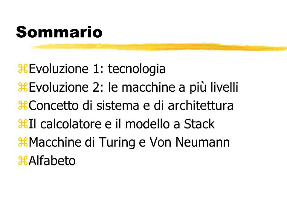 Sommario zEvoluzione 1: tecnologia zEvoluzione 2: le macchine a più livelli zConcetto di sistema e di architettura zIl calcolatore e il modello a Stack zMacchine di Turing e Von Neumann zAlfabeto