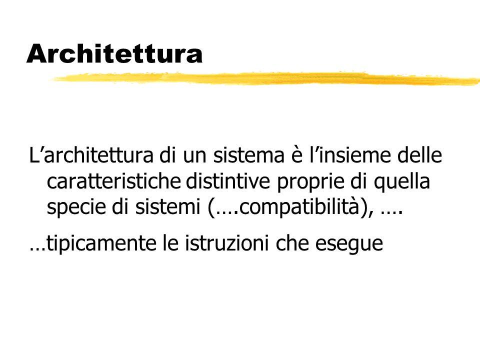 Architettura Larchitettura di un sistema è linsieme delle caratteristiche distintive proprie di quella specie di sistemi (….compatibilità), ….