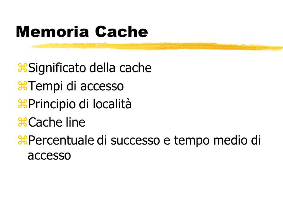 Memoria Cache zSignificato della cache zTempi di accesso zPrincipio di località zCache line zPercentuale di successo e tempo medio di accesso
