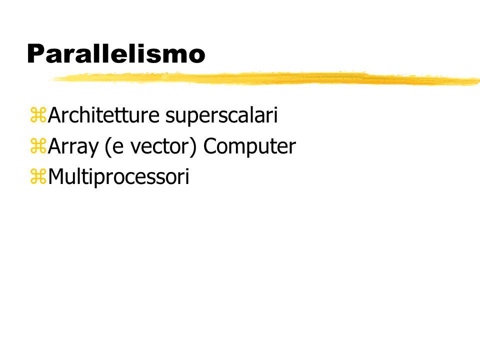 Parallelismo zArchitetture superscalari zArray (e vector) Computer zMultiprocessori