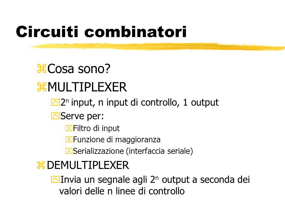 Circuiti combinatori zDecodificatore yN input, 2expn linee di output yServe a selezionare una connessione zComparatore: paragona due parole di input yN+n input, un output yImplementa la funzione uguaglianza zArray logici programmabili yMatrici di input/output yAbilitazione a fusibile