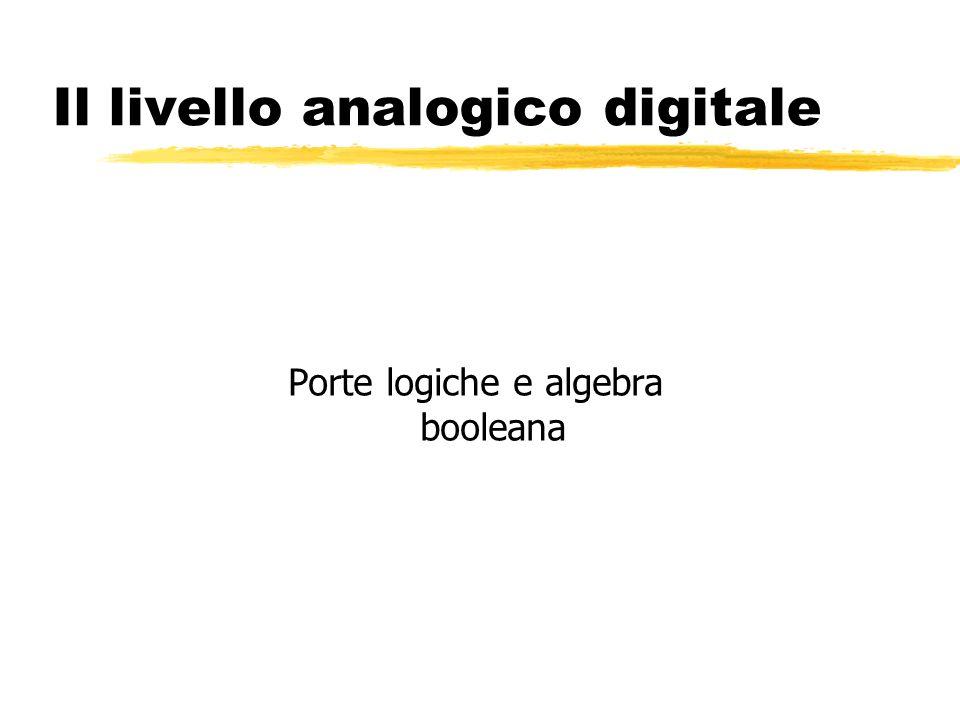 Il livello analogico digitale Porte logiche e algebra booleana