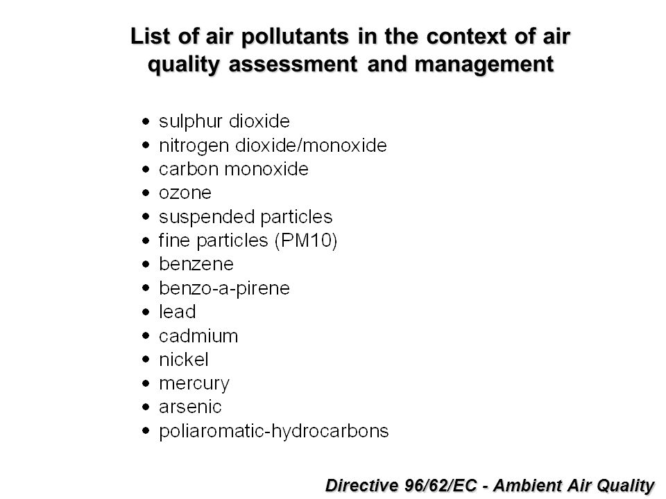 Directive 96/62/EC - Ambient Air Quality List of air pollutants in the context of air quality assessment and management