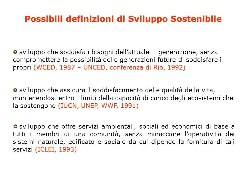 Crescita economica Sviluppo economico, ambientale, sociale, culturale, istituzionale sostenibile