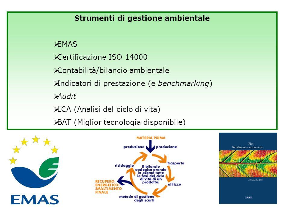 Strumenti di gestione EMAS Certificazione ISO 14000 Contabilità/bilancio ambientale Indicatori di prestazione (e benchmarcking) Audit LCA (Analisi del ciclo di vita) Miglior tecnologia disponibile Strumenti di comunicazione Rapporto/dichiarazione ambientale Eco-labelling Green Marketing Strumenti di gestione ambientale di impresa
