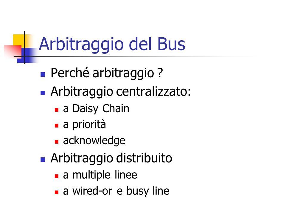 Arbitraggio del Bus Perché arbitraggio ? Arbitraggio centralizzato: a Daisy Chain a priorità acknowledge Arbitraggio distribuito a multiple linee a wi
