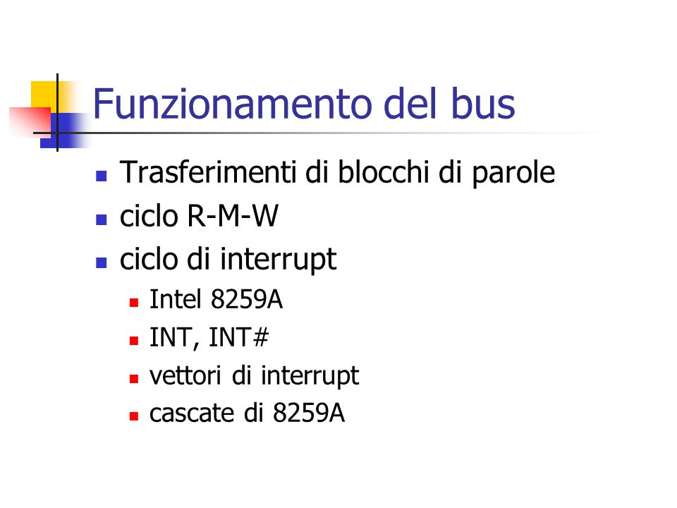 Funzionamento del bus Trasferimenti di blocchi di parole ciclo R-M-W ciclo di interrupt Intel 8259A INT, INT# vettori di interrupt cascate di 8259A