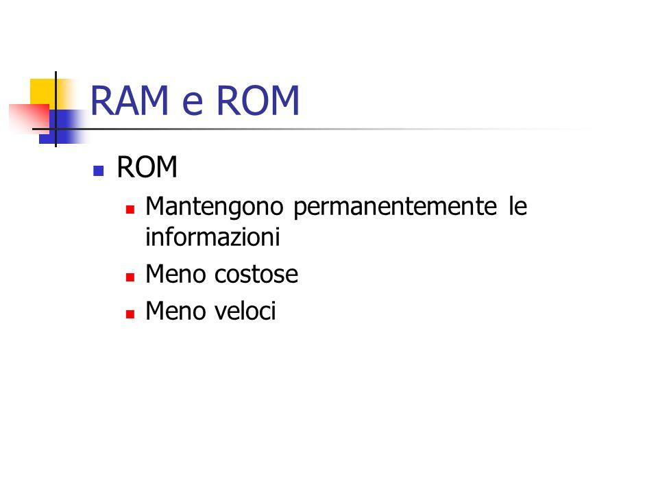 RAM e ROM ROM Mantengono permanentemente le informazioni Meno costose Meno veloci