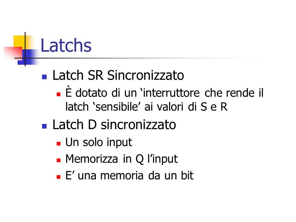 Latchs Latch SR Sincronizzato È dotato di un interruttore che rende il latch sensibile ai valori di S e R Latch D sincronizzato Un solo input Memorizza in Q linput E una memoria da un bit