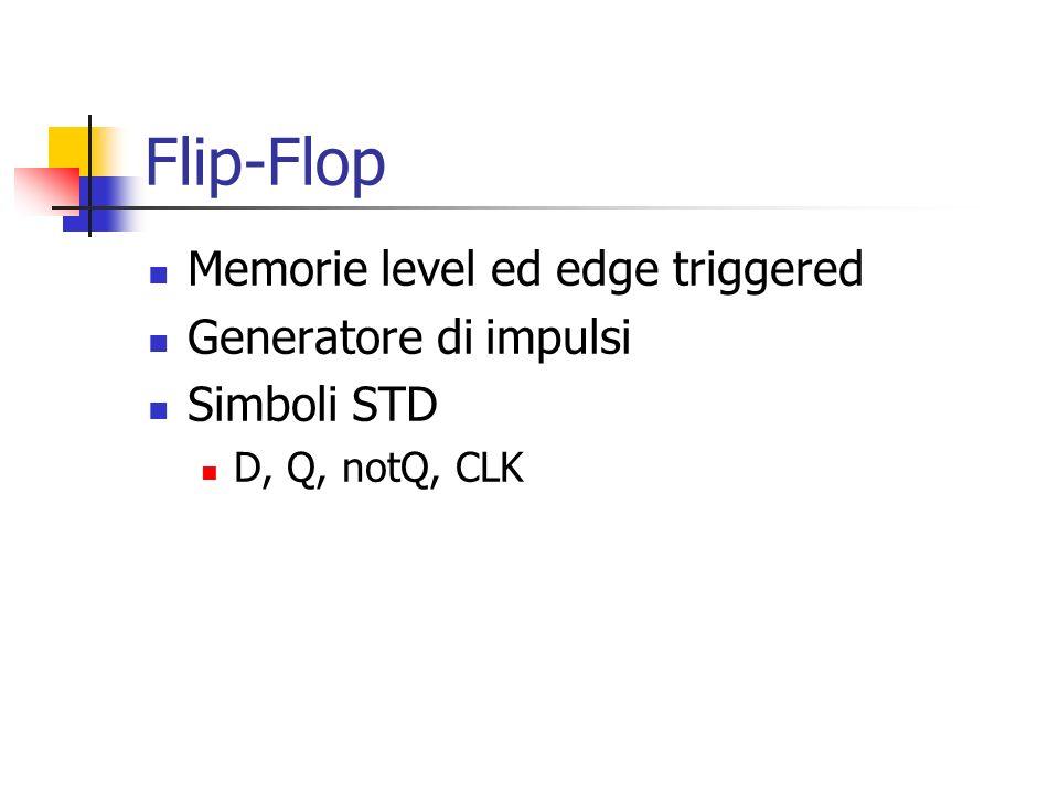 Flip-Flop Memorie level ed edge triggered Generatore di impulsi Simboli STD D, Q, notQ, CLK