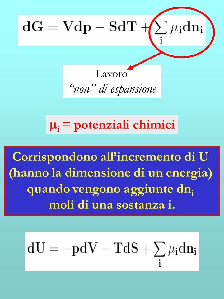 Lavoro non di espansione i = potenziali chimici Corrispondono allincremento di U (hanno la dimensione di un energia) quando vengono aggiunte dn i moli di una sostanza i.