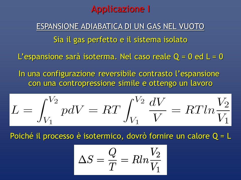 ESPANSIONE ADIABATICA DI UN GAS NEL VUOTO Sia il gas perfetto e il sistema isolato Lespansione sarà isoterma. Nel caso reale Q = 0 ed L = 0 In una con