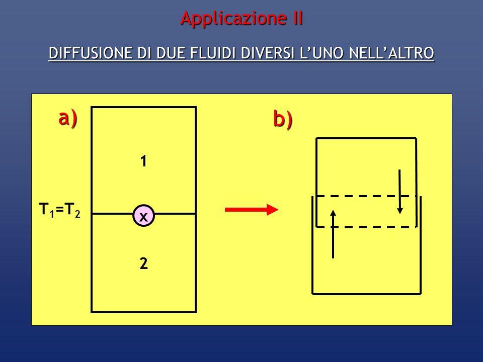 DIFFUSIONE DI DUE FLUIDI DIVERSI LUNO NELLALTRO 1 2 x a) b) T 1 =T 2 Applicazione II