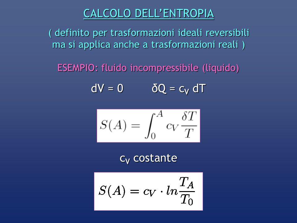 CALCOLO DELLENTROPIA ( definito per trasformazioni ideali reversibili ma si applica anche a trasformazioni reali ) ESEMPIO: fluido incompressibile (li