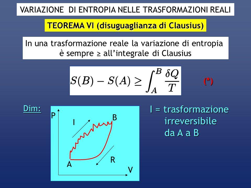VARIAZIONE DI ENTROPIA NELLE TRASFORMAZIONI REALI TEOREMA VI (disuguaglianza di Clausius) In una trasformazione reale la variazione di entropia è semp