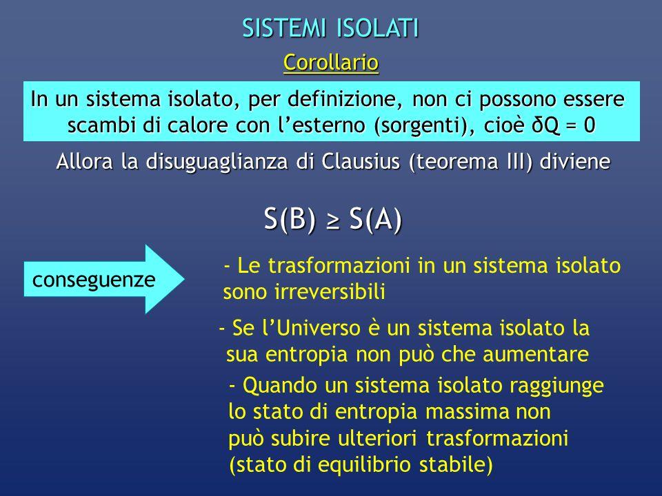 SISTEMI ISOLATI Corollario In un sistema isolato, per definizione, non ci possono essere scambi di calore con lesterno (sorgenti), cioè δQ = 0 Allora