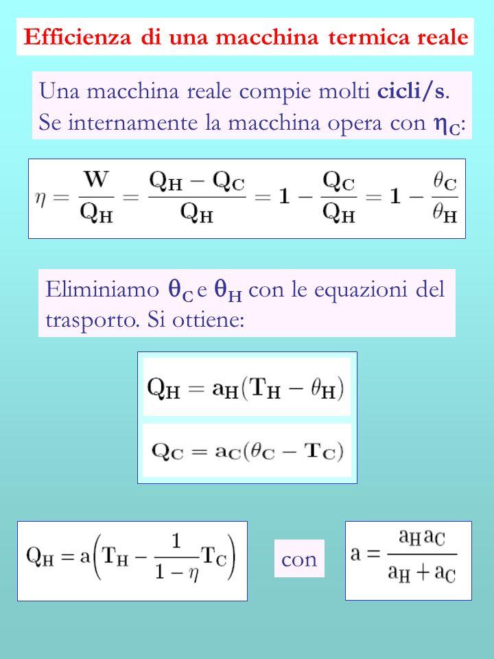Efficienza di una macchina termica reale Una macchina reale compie molti cicli/s. Se internamente la macchina opera con C : Eliminiamo C e H con le eq