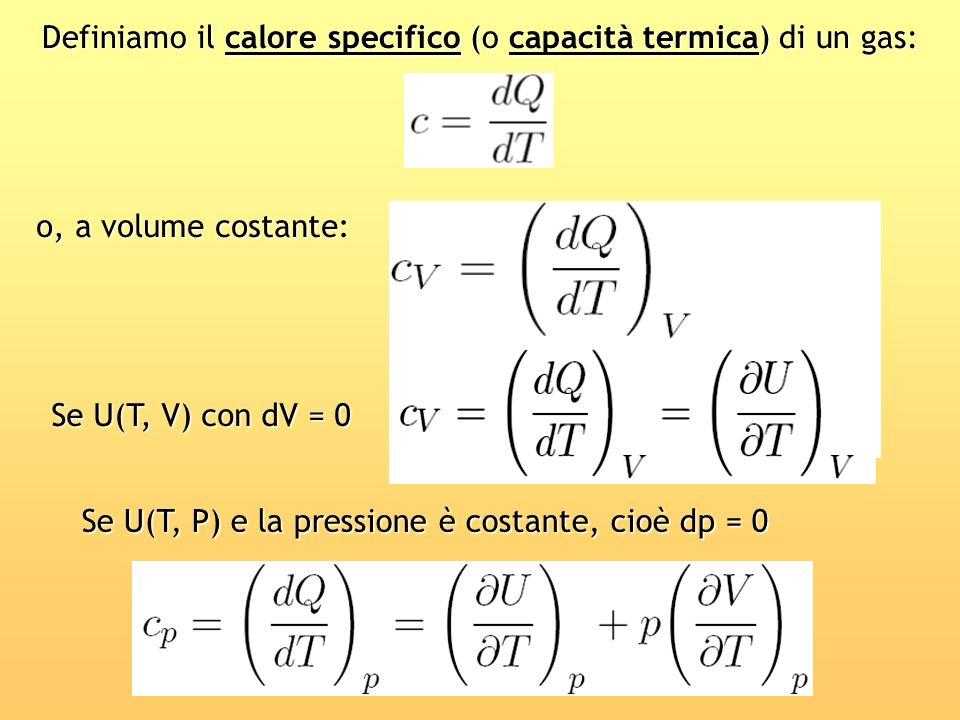 Definiamo il calore specifico (o capacità termica) di un gas: o, a volume costante: Se U(T, P) e la pressione è costante, cioè dp = 0 Se U(T, V) con d