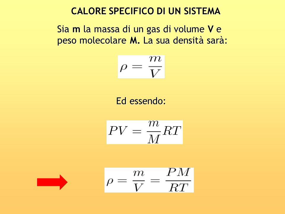CALORE SPECIFICO DI UN SISTEMA Sia m la massa di un gas di volume V e peso molecolare M. La sua densità sarà: Ed essendo:
