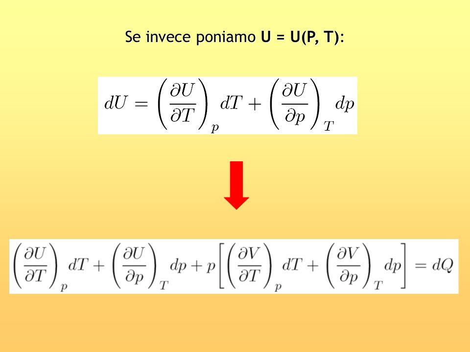 Se invece poniamo U = U(P, T):