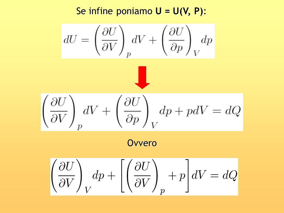 Se infine poniamo U = U(V, P): Ovvero