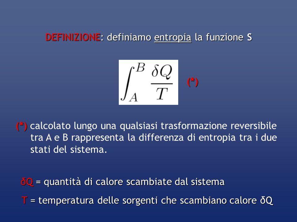 DEFINIZIONE: definiamo entropia la funzione S (*) (*) calcolato lungo una qualsiasi trasformazione reversibile tra A e B rappresenta la differenza di