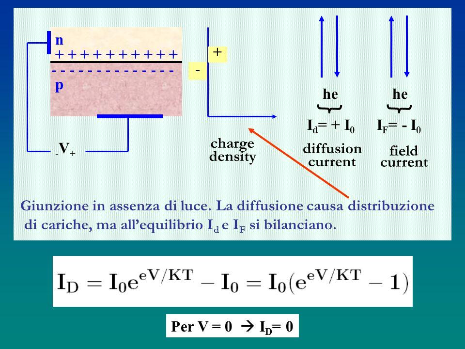 Per V = 0 I D = 0 n + + + + + + + + + + - - - - - - - p -V+-V+ charge density + - he I d = + I 0 I F = - I 0 diffusion current field current Giunzione