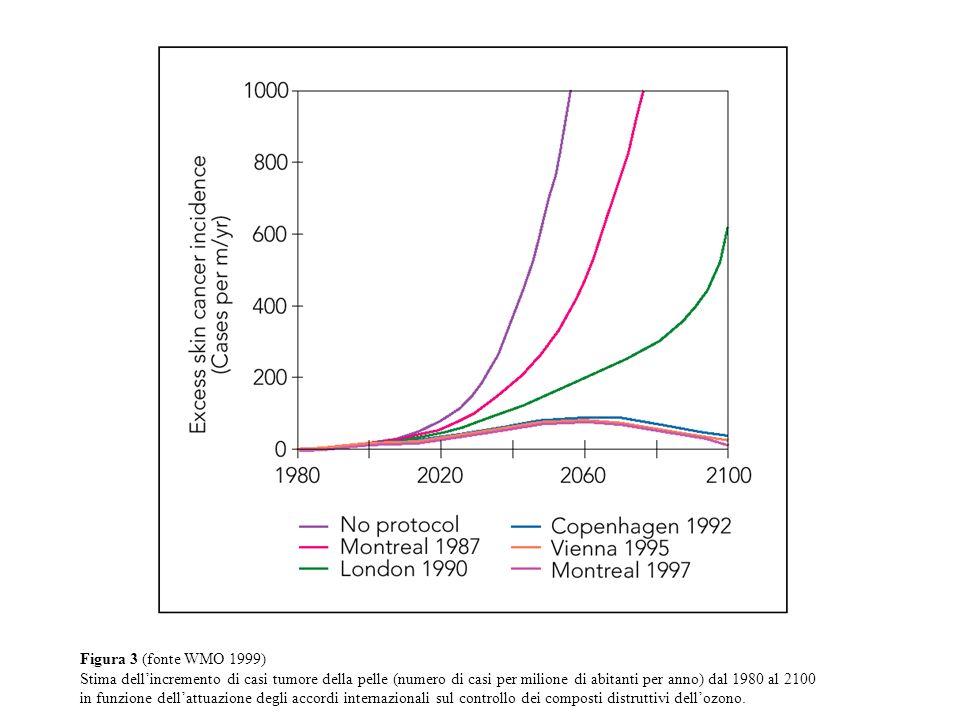 Figura 3 (fonte WMO 1999) Stima dellincremento di casi tumore della pelle (numero di casi per milione di abitanti per anno) dal 1980 al 2100 in funzione dellattuazione degli accordi internazionali sul controllo dei composti distruttivi dellozono.