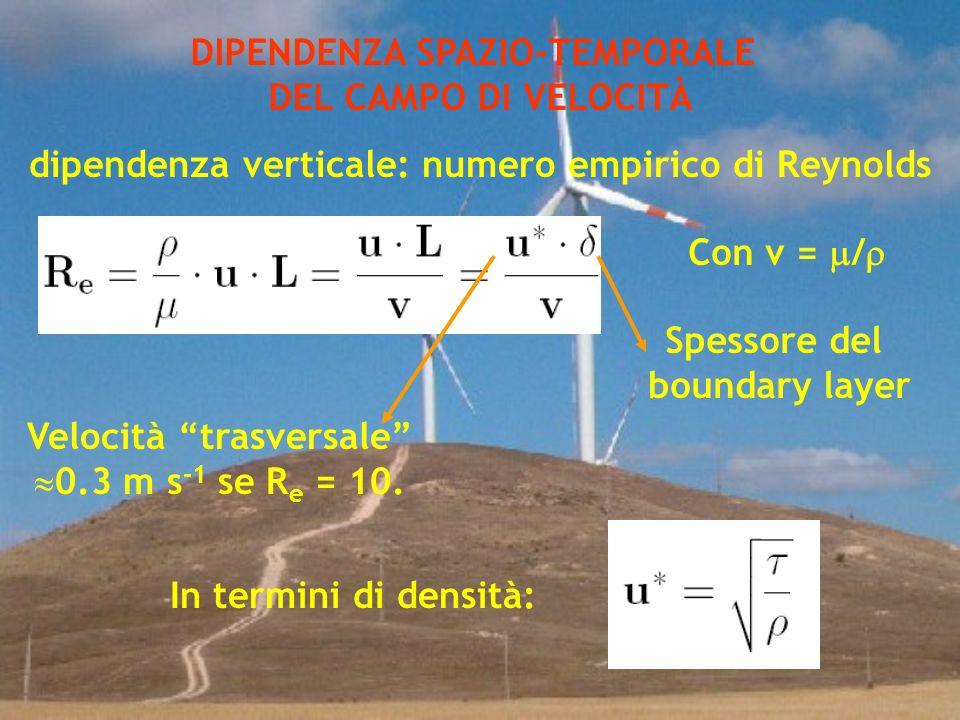 DIPENDENZA SPAZIO-TEMPORALE DEL CAMPO DI VELOCITÀ dipendenza verticale: numero empirico di Reynolds Velocità trasversale 0.3 m s -1 se R e = 10. Con v