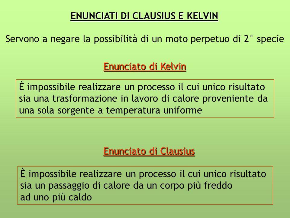 ENUNCIATI DI CLAUSIUS E KELVIN Servono a negare la possibilità di un moto perpetuo di 2° specie Enunciato di Kelvin È impossibile realizzare un proces