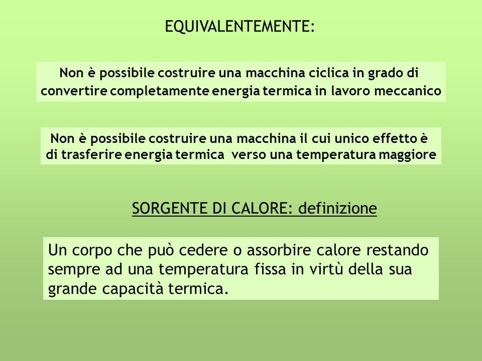 EQUIVALENTEMENTE: Non è possibile costruire una macchina ciclica in grado di convertire completamente energia termica in lavoro meccanico Non è possib