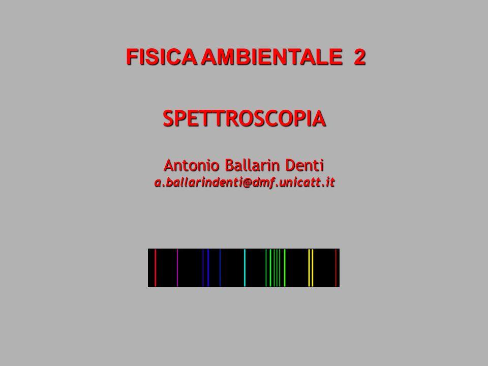 SPETTROSCOPIA FISICA AMBIENTALE 2 Antonio Ballarin Denti a.ballarindenti@dmf.unicatt.it