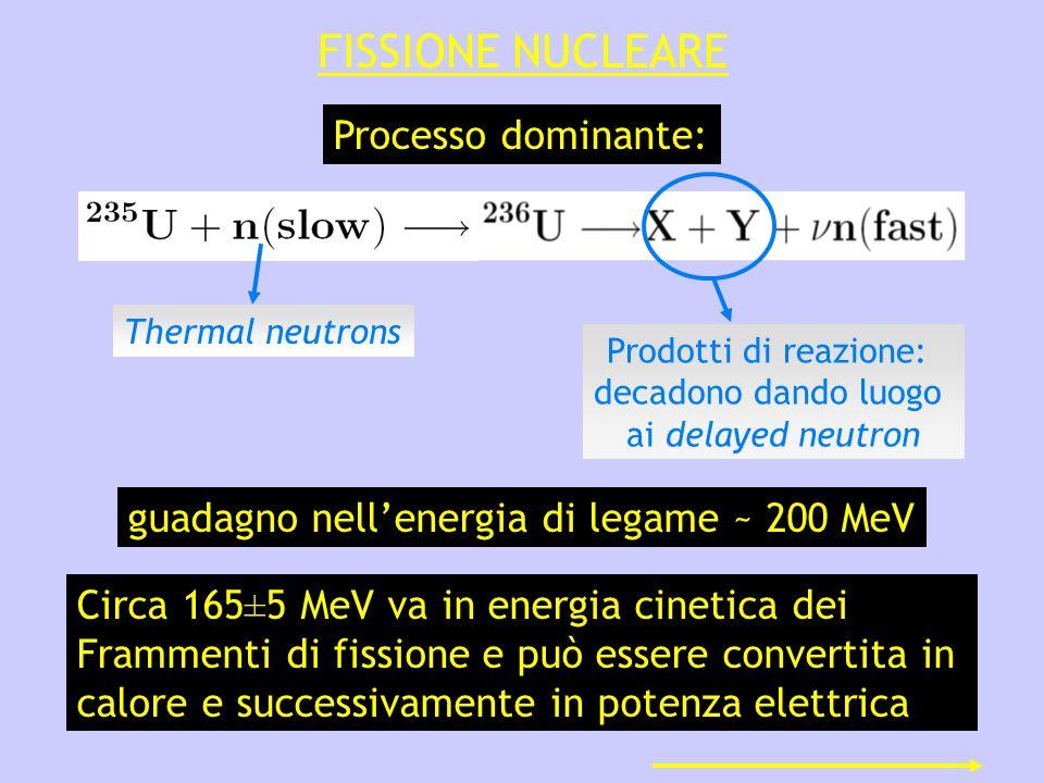 FISSIONE NUCLEARE Processo dominante: Prodotti di reazione: decadono dando luogo ai delayed neutron Thermal neutrons guadagno nellenergia di legame ~ 200 MeV Circa 165±5 MeV va in energia cinetica dei Frammenti di fissione e può essere convertita in calore e successivamente in potenza elettrica