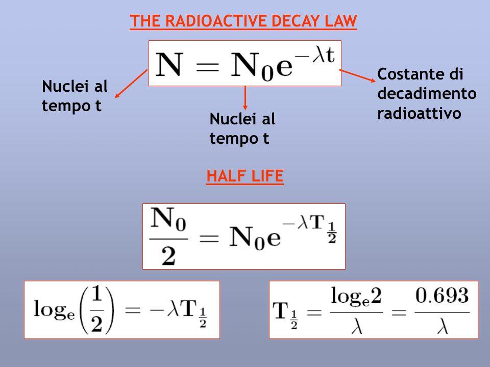 THE RADIOACTIVE DECAY LAW Nuclei al tempo t Nuclei al tempo t Costante di decadimento radioattivo HALF LIFE