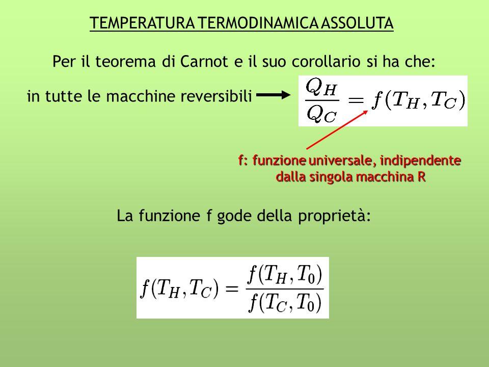 TEMPERATURA TERMODINAMICA ASSOLUTA Per il teorema di Carnot e il suo corollario si ha che: in tutte le macchine reversibili La funzione f gode della proprietà: f: funzione universale, indipendente dalla singola macchina R