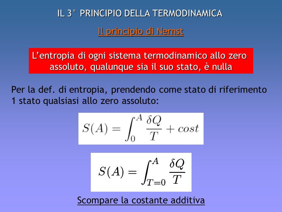 IL 3° PRINCIPIO DELLA TERMODINAMICA Il principio di Nernst Lentropia di ogni sistema termodinamico allo zero assoluto, qualunque sia il suo stato, è n