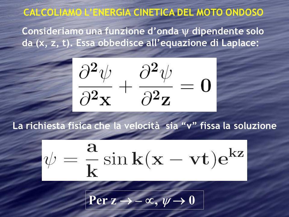 CALCOLIAMO LENERGIA CINETICA DEL MOTO ONDOSO Consideriamo una funzione donda dipendente solo da (x, z, t). Essa obbedisce allequazione di Laplace: La
