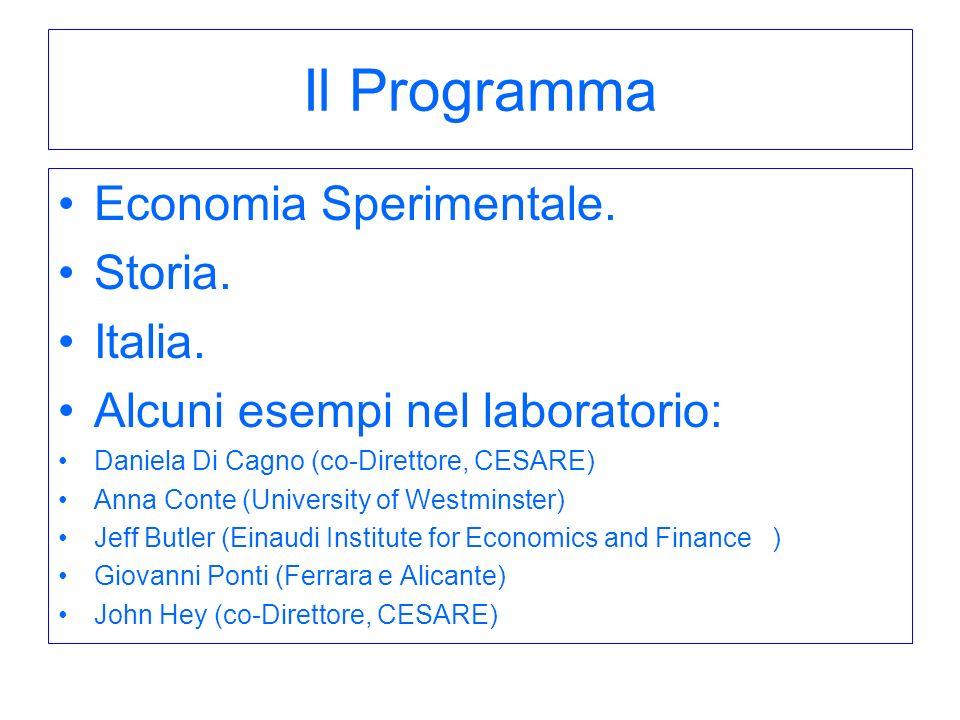 Il Programma Economia Sperimentale. Storia. Italia. Alcuni esempi nel laboratorio: Daniela Di Cagno (co-Direttore, CESARE) Anna Conte (University of W