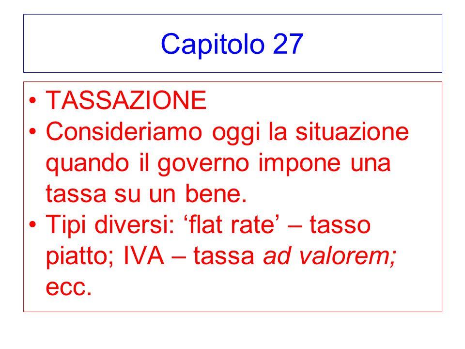 Capitolo 27 TASSAZIONE Consideriamo oggi la situazione quando il governo impone una tassa su un bene. Tipi diversi: flat rate – tasso piatto; IVA – ta