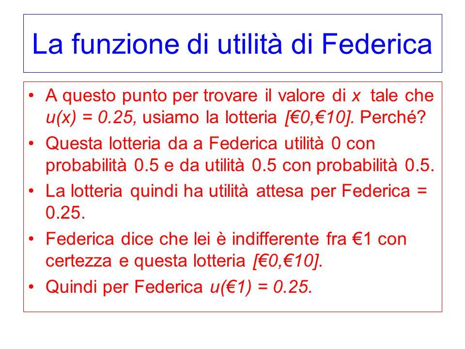 La funzione di utilità di Federica A questo punto per trovare il valore di x tale che u(x) = 0.25, usiamo la lotteria [0,10]. Perché? Questa lotteria