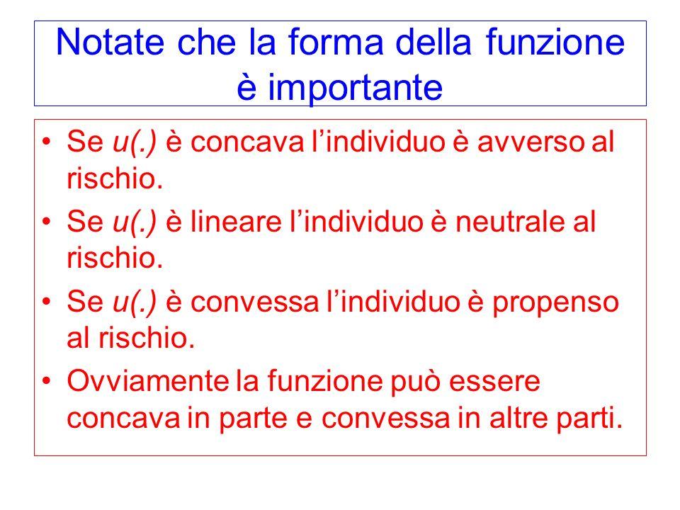 Notate che la forma della funzione è importante Se u(.) è concava lindividuo è avverso al rischio. Se u(.) è lineare lindividuo è neutrale al rischio.