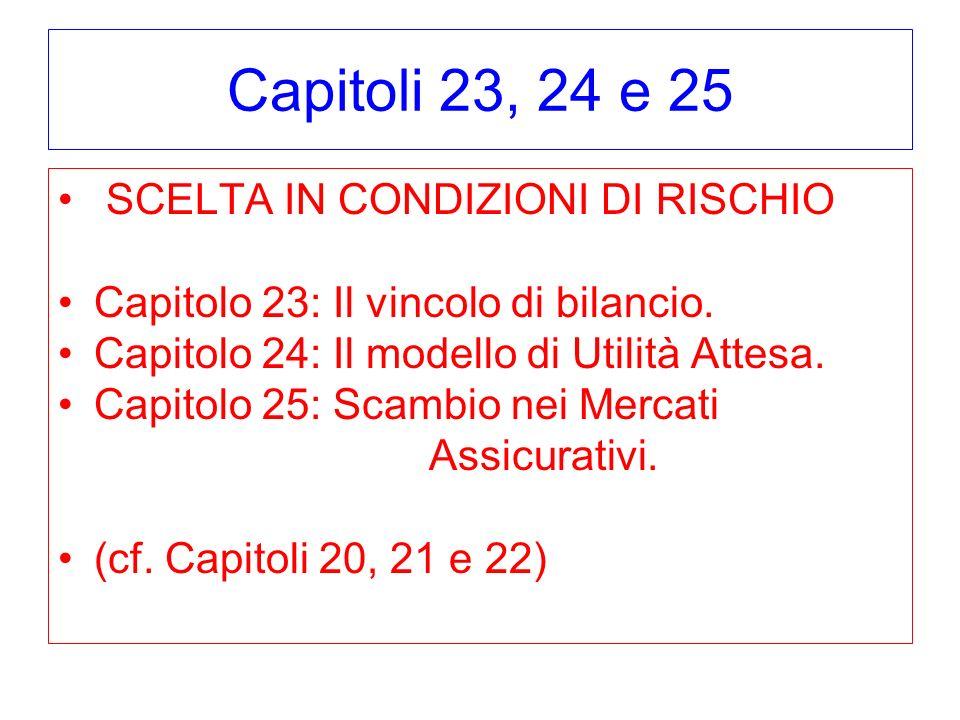 Capitoli 23, 24 e 25 SCELTA IN CONDIZIONI DI RISCHIO Capitolo 23: Il vincolo di bilancio. Capitolo 24: Il modello di Utilità Attesa. Capitolo 25: Scam