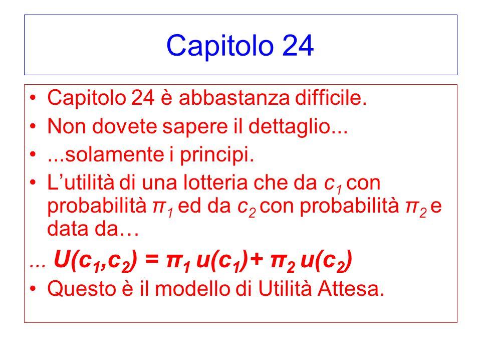 Capitolo 24 Capitolo 24 è abbastanza difficile. Non dovete sapere il dettaglio......solamente i principi. Lutilità di una lotteria che da c 1 con prob