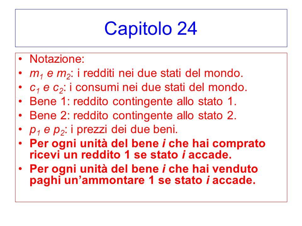 Capitolo 24 Notazione: m 1 e m 2 : i redditi nei due stati del mondo. c 1 e c 2 : i consumi nei due stati del mondo. Bene 1: reddito contingente allo