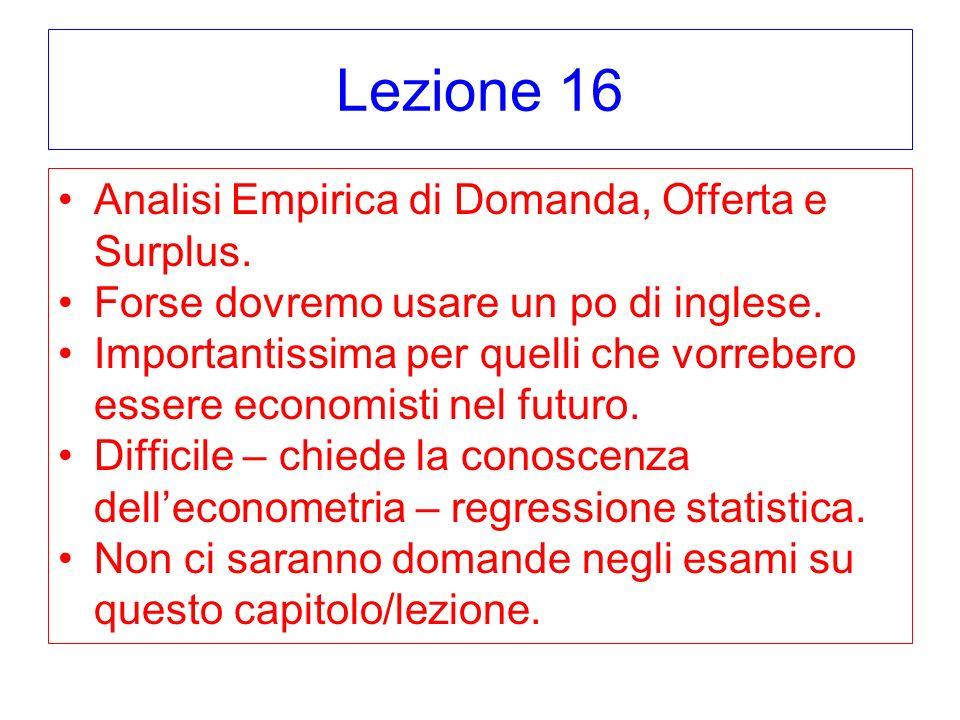 Lezione 16 Analisi Empirica di Domanda, Offerta e Surplus. Forse dovremo usare un po di inglese. Importantissima per quelli che vorrebero essere econo