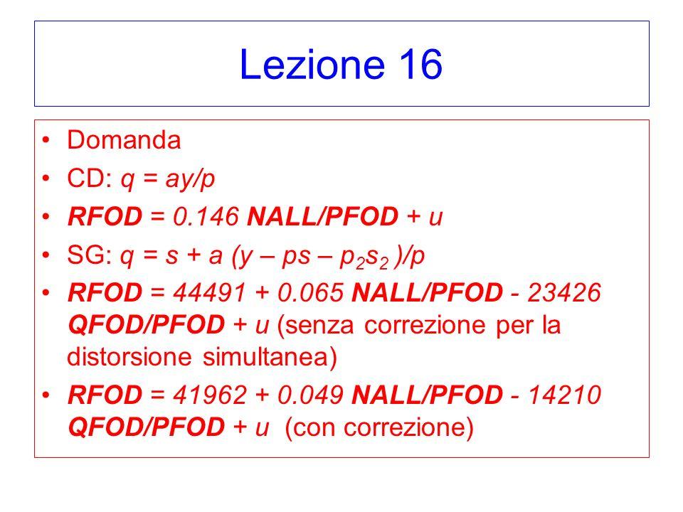 Lezione 16 Domanda CD: q = ay/p RFOD = 0.146 NALL/PFOD + u SG: q = s + a (y – ps – p 2 s 2 )/p RFOD = 44491 + 0.065 NALL/PFOD - 23426 QFOD/PFOD + u (s