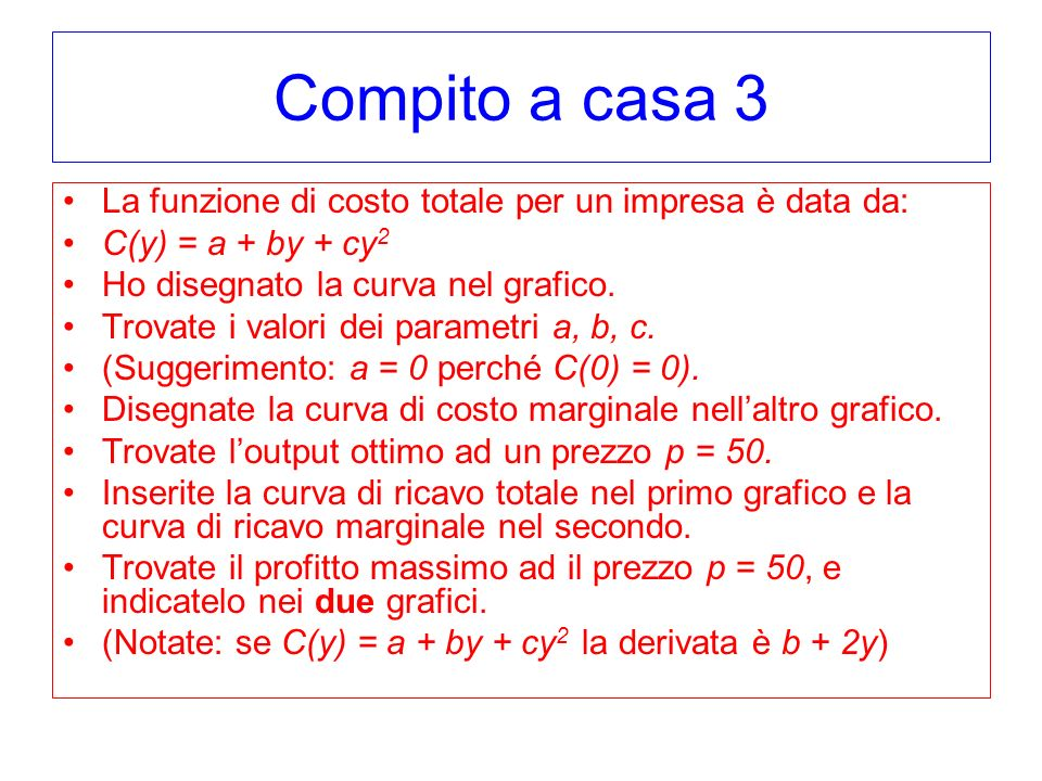 Compito a casa 3 La funzione di costo totale per un impresa è data da: C(y) = a + by + cy 2 Ho disegnato la curva nel grafico. Trovate i valori dei pa
