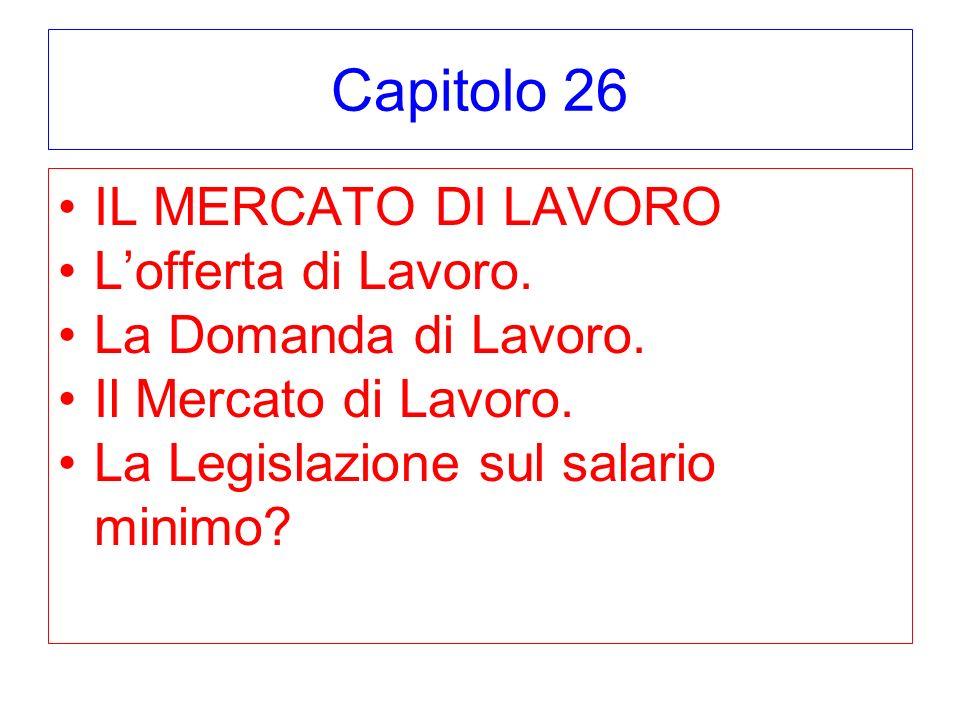 Capitolo 26 IL MERCATO DI LAVORO Lofferta di Lavoro.