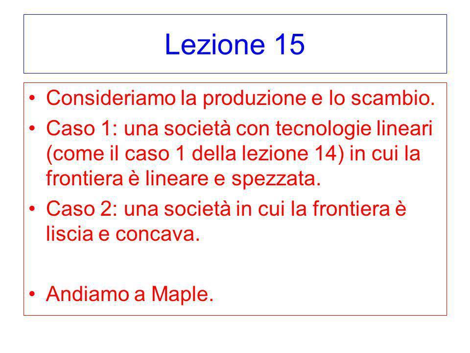 Lezione 15 Consideriamo la produzione e lo scambio. Caso 1: una società con tecnologie lineari (come il caso 1 della lezione 14) in cui la frontiera è