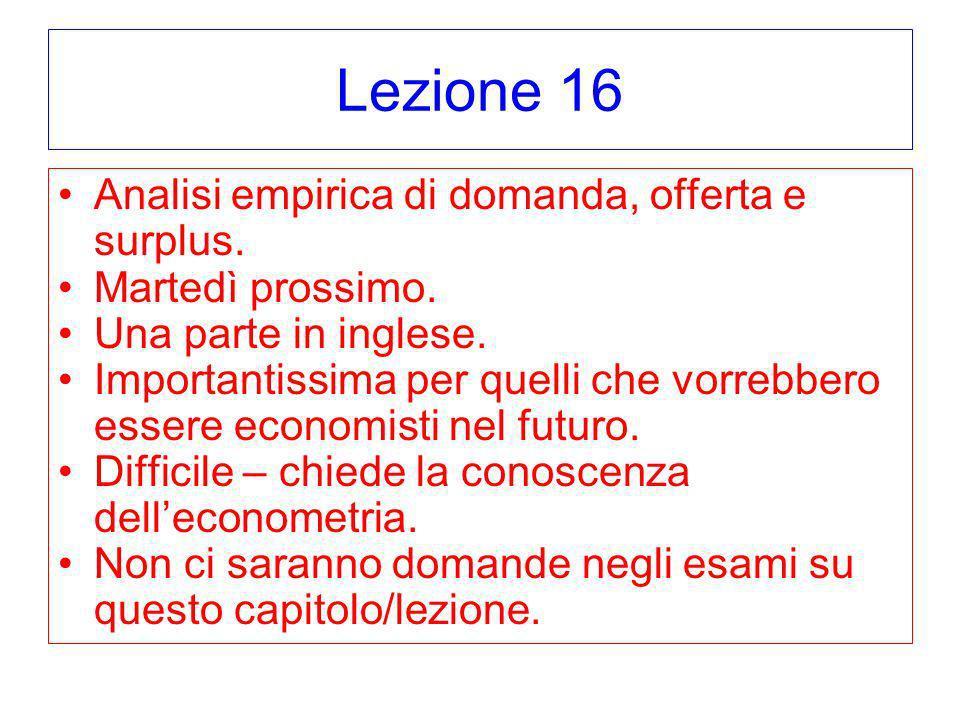 Lezione 16 Analisi empirica di domanda, offerta e surplus. Martedì prossimo. Una parte in inglese. Importantissima per quelli che vorrebbero essere ec